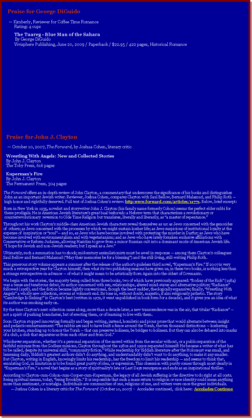 Text Box:     Praise for George DiGuido